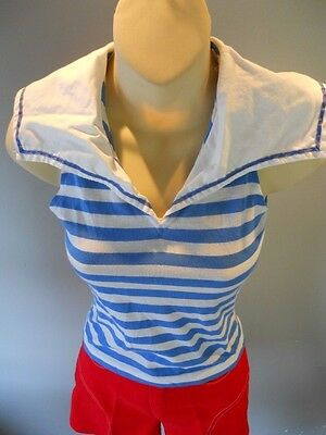 Vintag 70s Red Hi Rise Shorts Blue White Stripes Nautical Blouse Teen Sailor Set