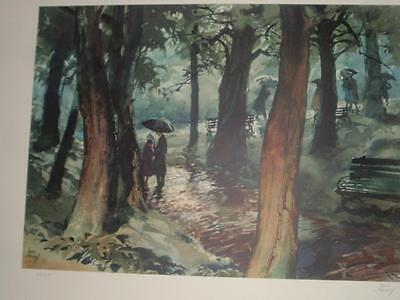 art the franklin mint Gallery of American art watercolor Rainy Tryst John Pike