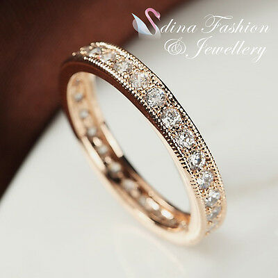 18K White /& Rose Gold Plated Simulated Diamonds Studded Lace Band Ring