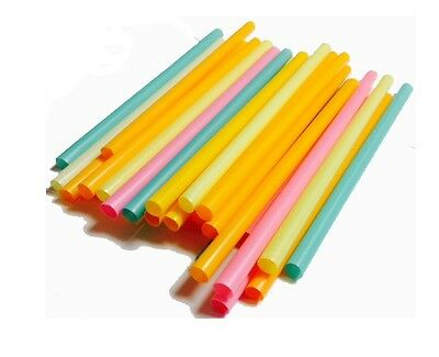 "9 "" Extra Wide Assorted wrapped Neon Milkshake and Smoothie Straws-35ct"