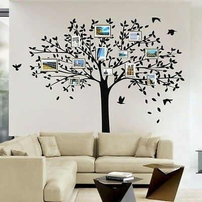 LARGE Family Tree BIRDS Wall Sticker Vinyl Art Home Decals Room Decor Mural DIY