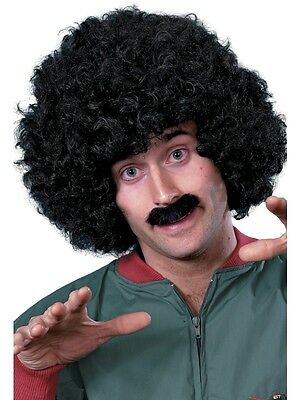 Adult Mens Black Curly Wig And Tash Scouser Set Smiffys 1980's Fancy Dress