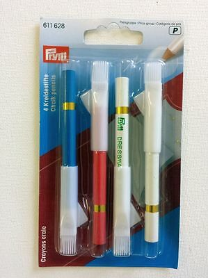 Prym Tailors Chalk Pencils - Pink Blue White - Brush End - Sew Craft Dressmakers