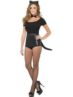 Adult Womens Black Instant Cat Set Smiffys Ears/bowtie/tail Fancy Dress