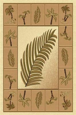 Tropical Palm Tree Round Woven 8x8 Area Rug Beige Actual