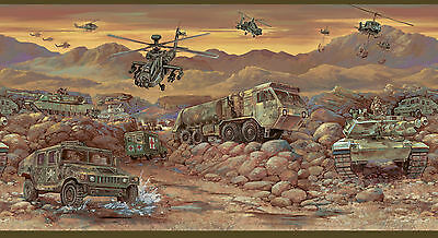 BYR94311B Kids Wallpaper Border | Army Trucks and Helicopters Wall Border | Camo