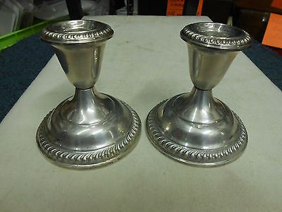 "Elegant Pair Of Sterling Silver Weighted Candle Holders 3 1/4"" Tall"