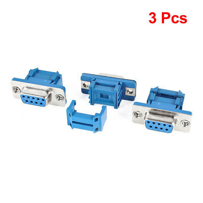 3 Pieces Serial Port DB9 9Pin Female Jack IDC Flat Ribbon Cable Connector Blue