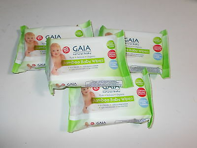 4 pack x 20 wipes (80 Wipes) GAIA Natural Baby BAMBOO WIPES Handy Travel Size