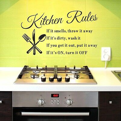 KITCHEN RULES Wall Decor Removable Vinyl Decal Sticker HOME Art DIY Mural