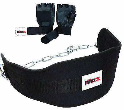 MADX Weight lifting DIPPING dip BELT neoprene with Chain FREE TRAINING GLOVES