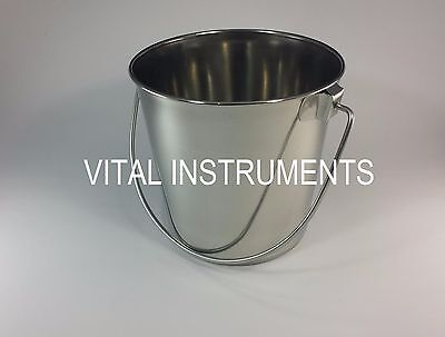 Stainless Steel Bucket Pail 2 Qt Dog Kennel Farm Water Milk Feeding Heavy Duty