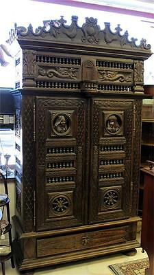 """47""""wide, 7' tall Antique LINEN DOWRY CUPBOARD Authentic BRETON Brittany, France"""