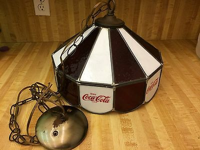 Vintage Coca Cola Stained Glass Hanging Lamp Light Restaurant Issued