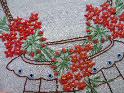 Charming Basket of Red Geraniums ~ Vintage Hand Embroidered Centrepiece/Mat