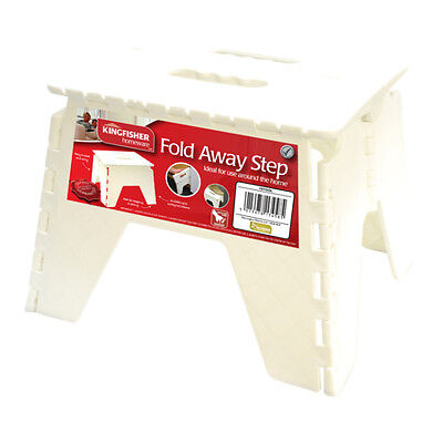 Fold Away Multi Purpose Sturdy White Compact Step Stool - Easy to Store