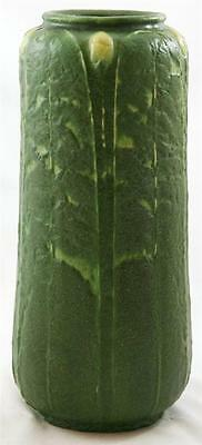 """GRUEBY 9.5"""" 2-COLOR VASE WILHELMINA POST DATED 11.20.8 BUDS/LEAVES GREEN/YELLOW"""