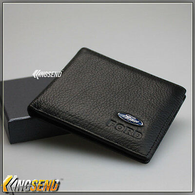 new FORD Wallet Genuine 100% Cow Leather Bifold Men Slim Purse Car Pouch Gift
