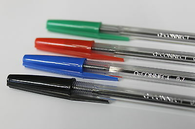 Q-Connect Ballpoint Pens..black, Blue, Red, Green. Quality Medium Point Pens.