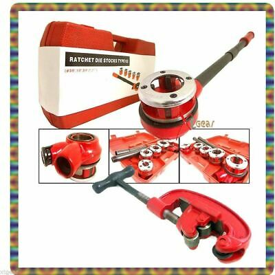 """5pc Pipe Threader Ratchet Type w/ Dies 3/8"""" to 1-1/14""""  + FREE #2 Pipe Cutter"""