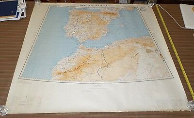 Fantastic, very large colored map of West Mediterranean (1954) Scarce!