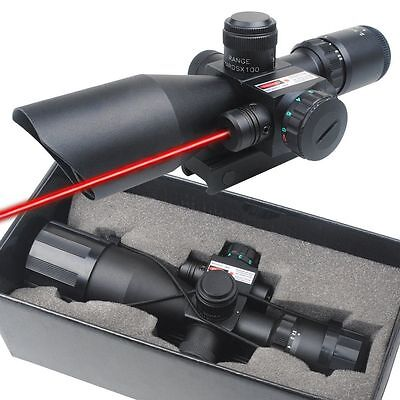 Tactical 2.5-10x40 Rifle Scope Mil-dot Dual illuminated w/ Red Laser Mount New