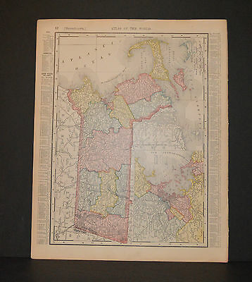 Antique Color map of Massachusetts.  Circa 1903. Nice detail