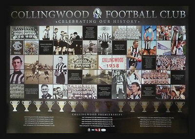 Collingwood Football Club Premiership Years Afl Magpies Premiers History Print