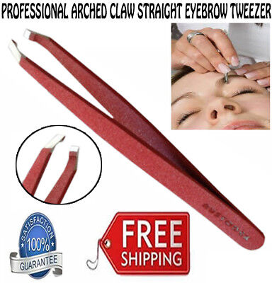 Arched Claw slanted tip heavy duty stainless steel eyebrow tweezers red new