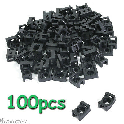 100pcs Plastic Cable Mount Base Holder Screw Fixing Cable Zip Tie Mount Saddle