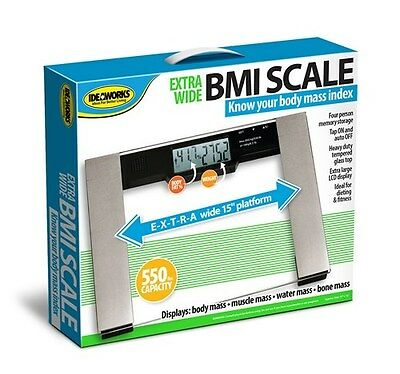 """BMI Bathroom Scale Digital Large Capacity X-Large Extra Wide 15"""" 550LB Glass XL"""