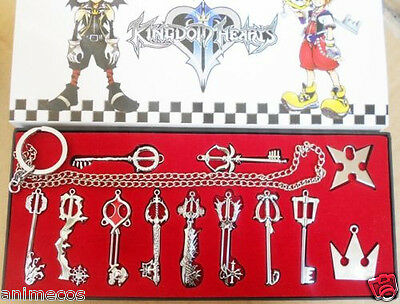 12pcs Kingdom Hearts II Necklace Pendant+Keyblade+Keychain New in box Silver