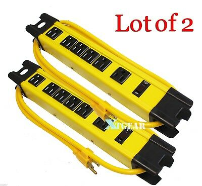 Lot Of 2 125V 15Amp 1875 Watt Six Outlet Metal Power Strip On/Off Switch Yellow