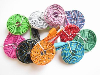 3ft 6ft 10ft Flat Braid Fabric USB Sync Charger Cable Cord For iPhone 5 5S 5C 6