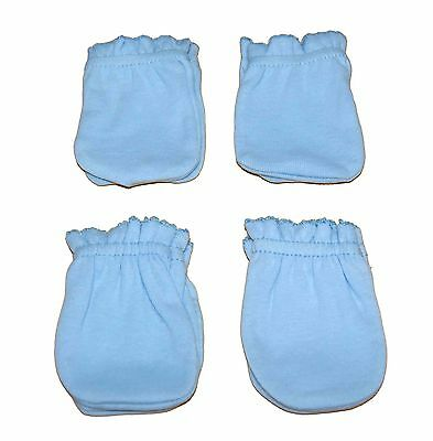 4 Pairs Newborn Baby/infant Anti-scratch Cotton Mittens Gloves---Light Blue