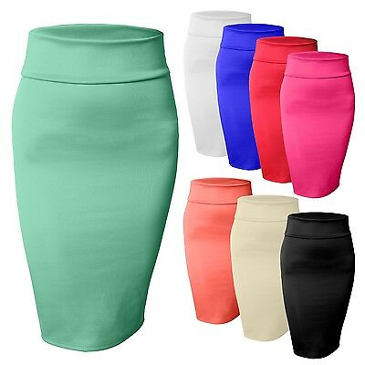 Women's High Waisted Fitted Stretch Bodycon Plain Midi Pencil Skirt [NEWSK10]