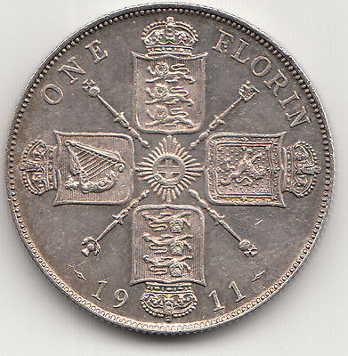 Very Rare George V 1911 Proof Silver Florin 2/- Two Shillings