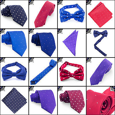 POLKADOT TIES - Bow Skinny Slim Pocket Square and Polka Dot Dots Mens - CHOOSE