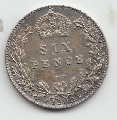 Very Rare Edward VII 1902 Matt Proof Silver Sixpence 6d