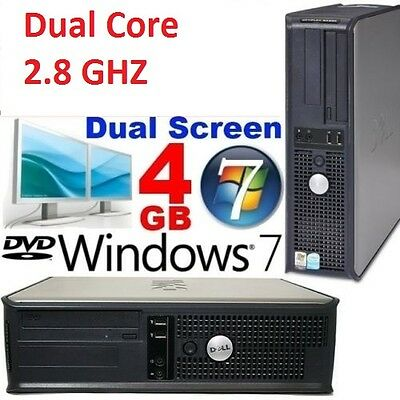 FAST DELL DUAL CORE 2.80 Ghz WINDOWS 7 4GB GAMING DESKTOP PC TOWER COMPUTER
