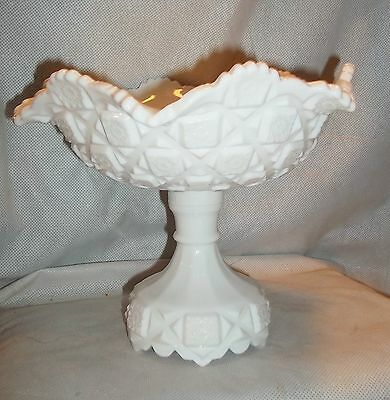 Westmoreland OLD QUILT milk glass Footed Compote, Ruffled Edge Top