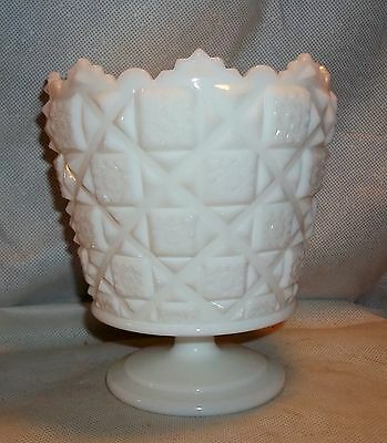 Westmoreland OLD QUILT Milk Glass Footed Urn or Jardiniere, straight side