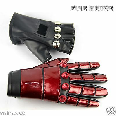 """King Of Fighters KOF 99 """"K"""" Black Red Leather Gloves Cosplay Props"""
