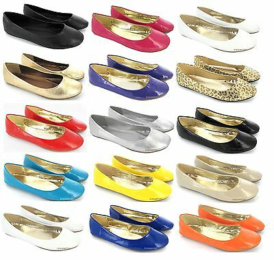Ladies Flat Ballet Ballerina Pumps Plain Womans Work  School Dolly Shoes Sz 3-9