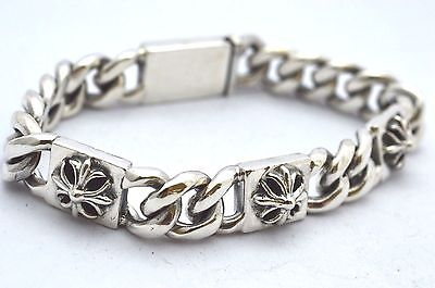925 Sterling Silver Chain Bracelets w/Cross Plates. 100 grams, 21 cm, 8.3""