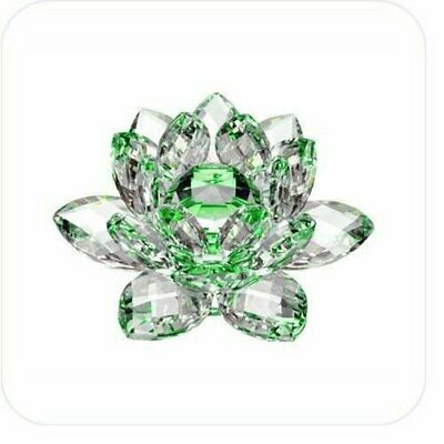 """5"""" Green Hue Reflection Crystal Lotus Flower Feng Shui Home Decor with Gift Box"""