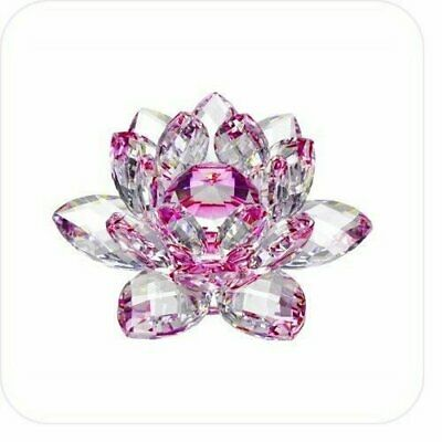 5in Pink Hue Reflection Crystal Lotus Flower Feng Shui Home Decor with Gift Box