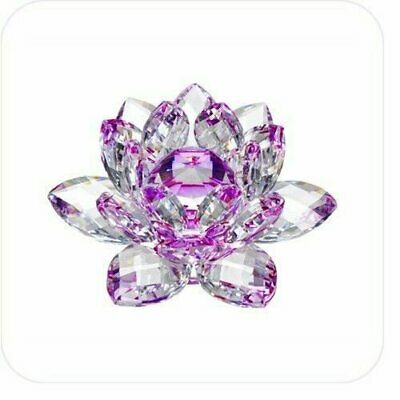 "5"" Purple Hue Reflection Crystal Lotus Flower FengShui Home Decor with Gift Box"