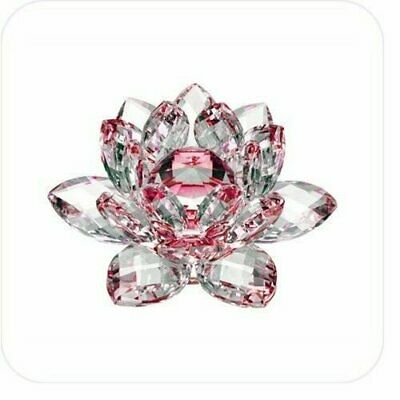 5in  Red Hue Reflection Crystal Lotus Flower Feng Shui Home Decor with Gift Box