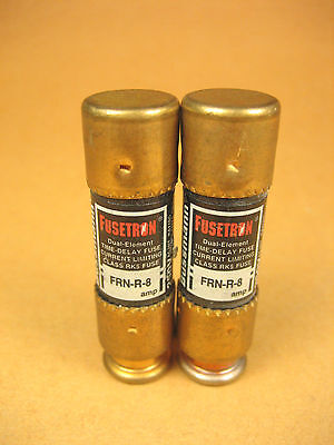 Cooper Bussmann Fusetron -  FRN-R-8 -  Dual Element Time Delay Fuse (Lot of 2)